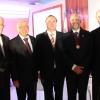 Da esquerda para a direita Dr. Cesar José Campagnoli, Dr. Ailton Morilhas Rodrigues, Dr. Ermenson Luiz Jorge, Dr. Gilberto Pucca e Dr. Roberto Cavali
